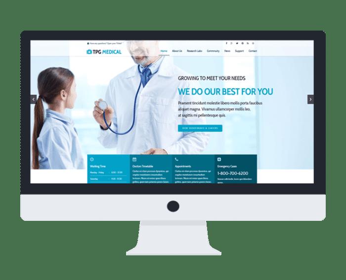 پوسته پزشکی و کلینیک درمانی TPG Medical - طراحی سایت آسان