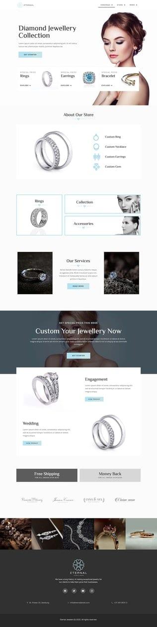 قالب آماده تمپلیت کیت Diamonic | Jewellery Store Elementor Template Kit