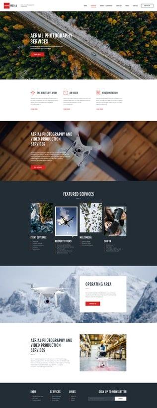 قالب آماده تمپلیت کیت Drone Media - Aerial Photography & Videography Elementor Template Kit
