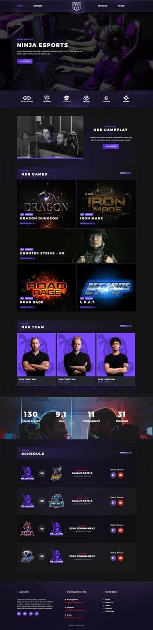 قالب آماده تمپلیت کیت Esportize | eSports & Gaming Elementor Template Kit
