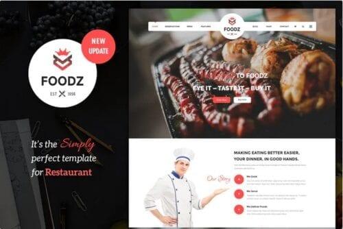 قالب تجاری جوملا Foodz - Restaurant, Spa & Salon Joomla Template