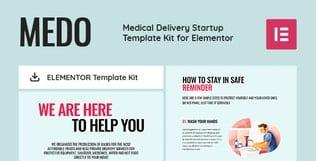 قالب آماده تمپلیت کیت MEDO - Medical Delivery Startup Elementor Template Kit