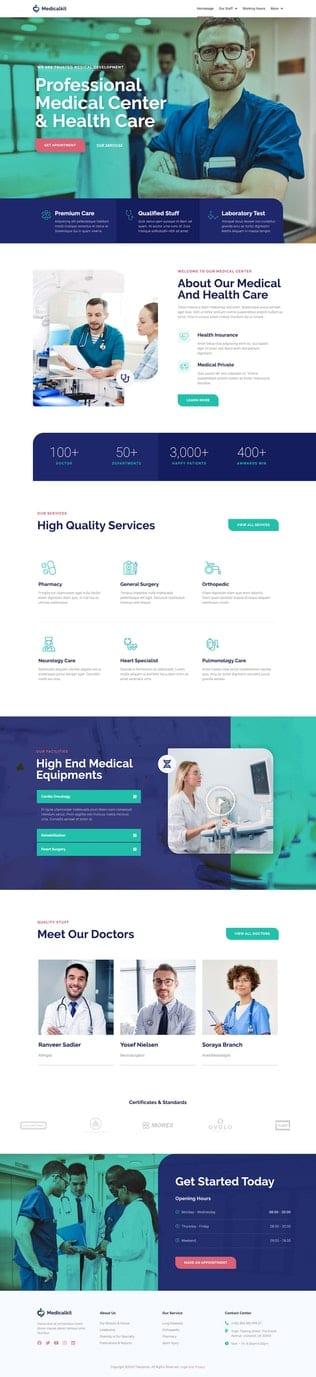 قالب آماده تمپلیت کیت Medicale | Medical & Health Elementor Template Kit