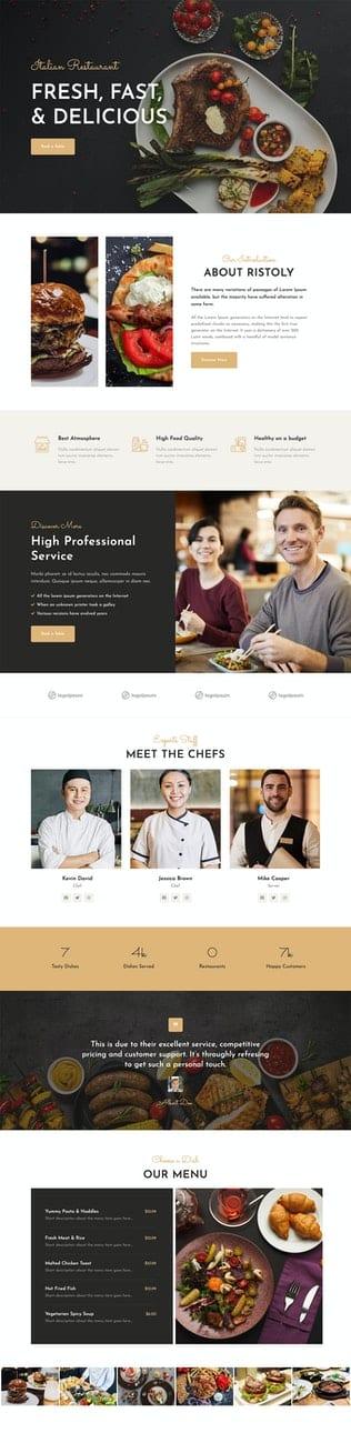قالب آماده تمپلیت کیت Ristoly - Restaurant Template Kit