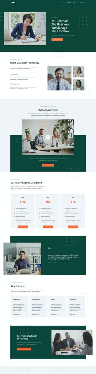 قالب آماده تمپلیت کیت Sheet - Modern Accounting Firm Template Kit