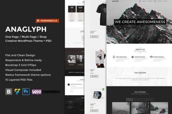 قالب وردپرس تجاری Anaglyph - One page / Multipage WordPress Theme