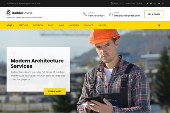 پوسته وردپرس ساختمان BuilderPress - WordPress Theme for Construction