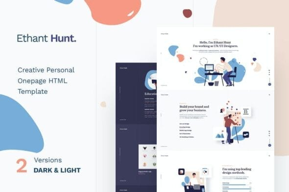 قالب وردپرس شخصی تک صفحه ای Ethant Hunt - Personal Onepage WordPress Theme