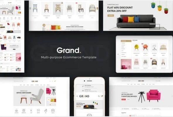 قالب فروشگاه مبلمان و دکوراسیون داخلی Grand - Responsive Furniture Magento Theme