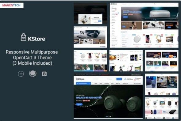 قالب فروشگاه لوازم دیجیتال KStore - Multipurpose OpenCart 3 Hi-Tech Theme