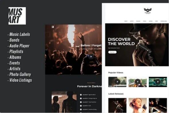 پوسته وردپرس موسیقی Musart - Music Label and Artists WordPress Theme