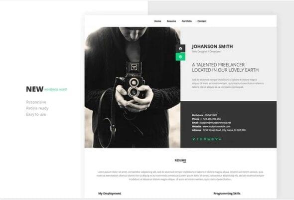 پوسته وردپرس رزومه NEW Retina Ready WordPress Vcard Theme