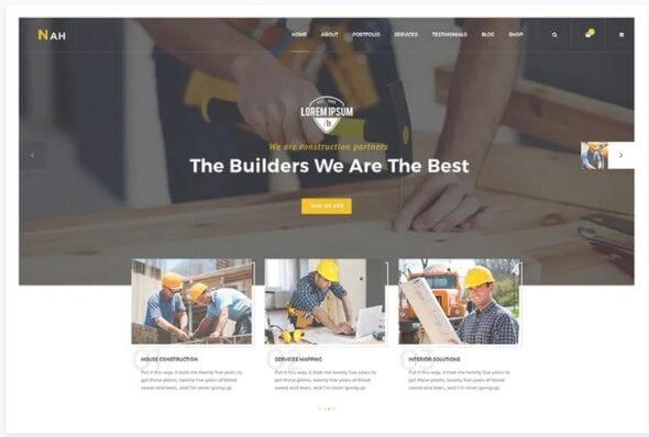 پوسته وردپرس ساختمانی Nah Construction, Building Business WordPress