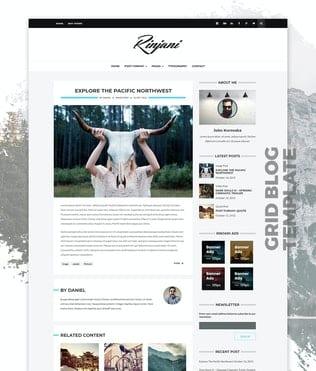قالب وردپرس بلاگ Personal Grid Blog WordPress Theme - Rinjani