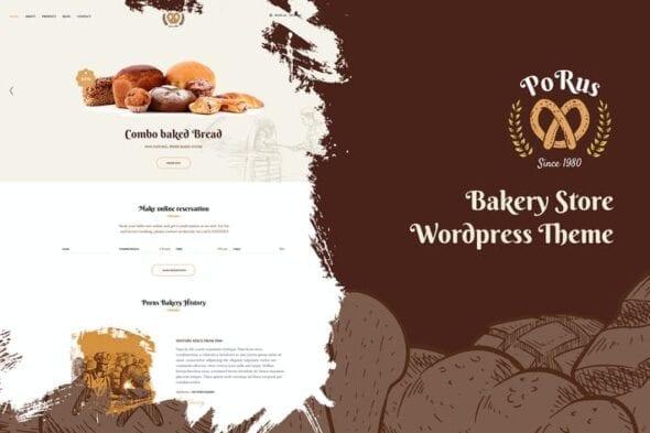 قالب وردپرس نانوایی و قنادی Porus - Bakery Store WordPress Theme
