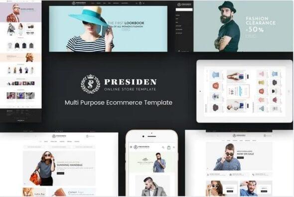 قالب فروشگاه مد و فشن Presiden - Multistore Responsive Magento Theme