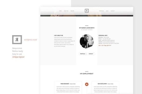 قالب وردپرس تک صفحه ای رزومه RIVAL One Page Vcard Wordpress Theme