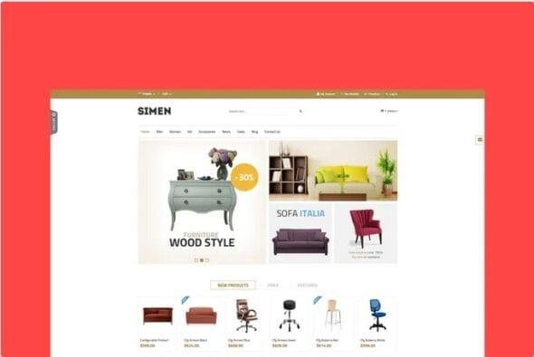 قالب فروشگاه مبلمان و دکوراسیون داخلی SNS Simen - Responsive Magento Theme