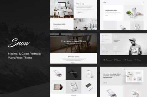 قالب وردپرس پورتفلیو Snow | Minimal & Clean WordPress Portfolio Theme