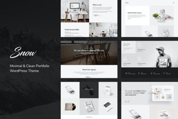 قالب وردپرس پورتفلیو Snow   Minimal & Clean WordPress Portfolio Theme