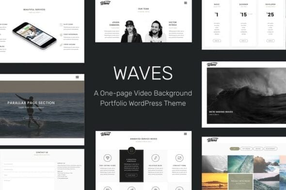 قالب وردپرس ویدئو و چندرسانه ای Waves - Fullscreen Video One-Page WordPress Theme