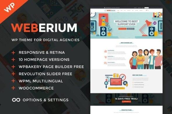 قالب وردپرس آژانس تبلیغات و سئو Weberium - Digital Agency and SEO WordPress Theme