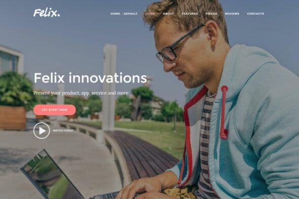 پوسته وردپرس تک صفحه ای اپلیکیشن Felix. - App, WordPress Onepage Theme