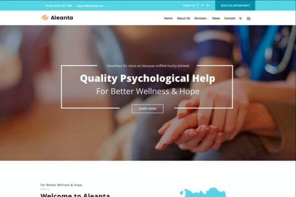 پوسته وردپرس روانشناسی Aleanta - Psychology WordPress Theme