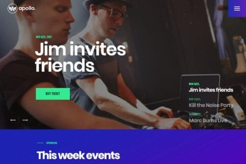قالب وردپرس موسیقی Apollo | Night Club, DJ Concert & Music Event WP