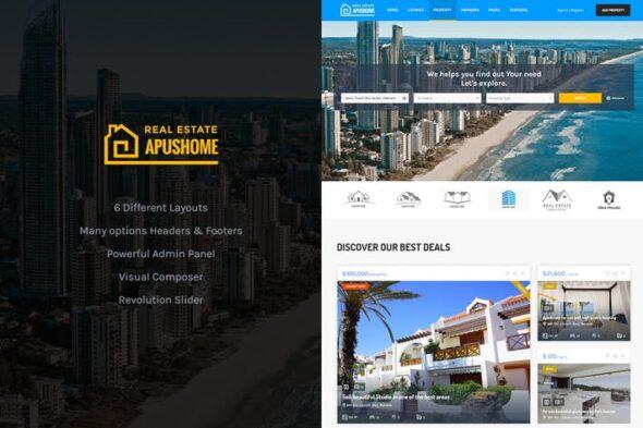 قالب وردپرس آژانس املاک ApusHome - Real Estate WordPress Theme
