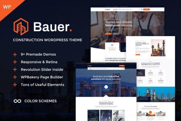 قالب وردپرس صنعتی ساختمانی Bauer - Construction & Industrial WordPress Theme