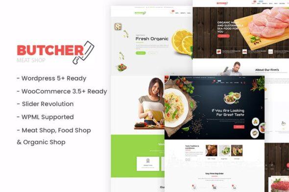 قالب وردپرس مواد غذایی Butcher - Meat, Organic, Bakery WordPress Theme
