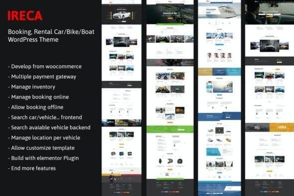 قالب وردپرس اجاره وسیله نقلیه Car, Boat, Bike Booking Rental Theme - Ireca
