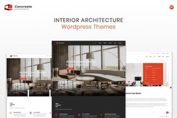 قالب وردپرس معماری داخلی Concreate - Interior Architecture WordPress Theme