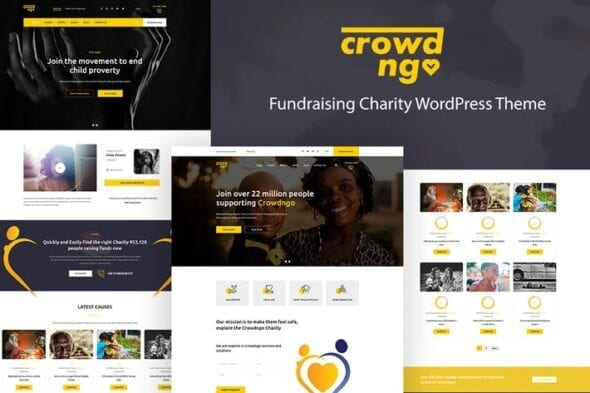 پوسته وردپرس موسسات غیرانتفاعی و خیریه Crowdngo – Fundraising Charity WordPress Theme