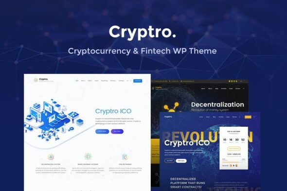 پوسته وردپرس ارز دیجیتال Cryptro- Cryptocurrency, Blockchain, Bitcoin Theme