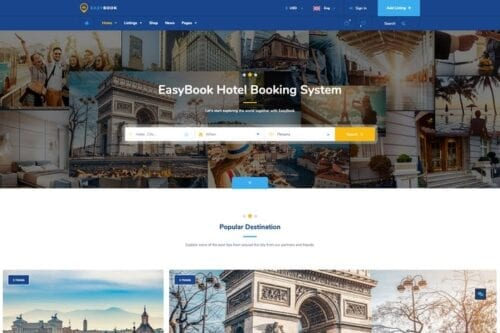 قالب وردپرس رزرو تور و هتل EasyBook – Hotel & Tour Booking WordPress Theme