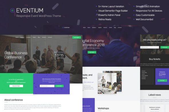 پوسته وردپرس همایش و رویداد Eventium - Responsive Event WordPress Theme