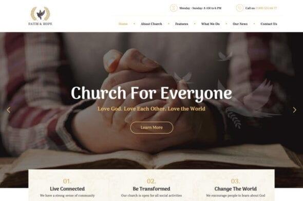 قالب وردپرس مذهبی Faith & Hope | A Modern Church & Religion WordPre
