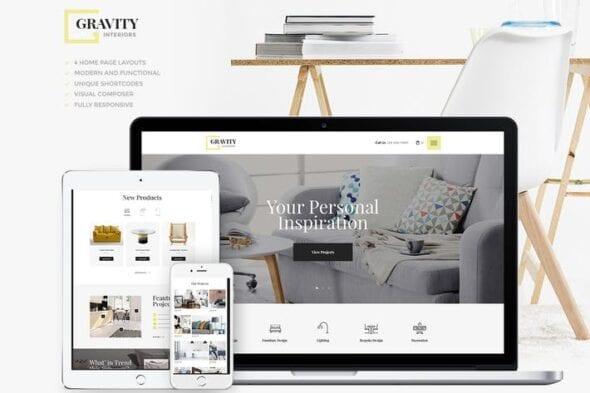 قالب وردپرس طراحی داخلی و معماری Gravity | A Contemporary Interior Design & Furnitu