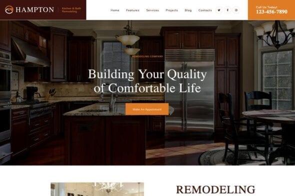 پوسته وردپرس طراحی داخلی و بازسازی Hampton |Home Design and House Renovation WP Theme