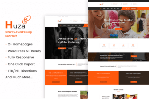 پوسته وردپرس موسسات خیریه Huza - Charity/Fundraising WordPress Theme