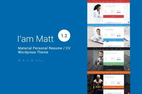 قالب وردپرس شخصی I am Mat - Material Personal WordPress