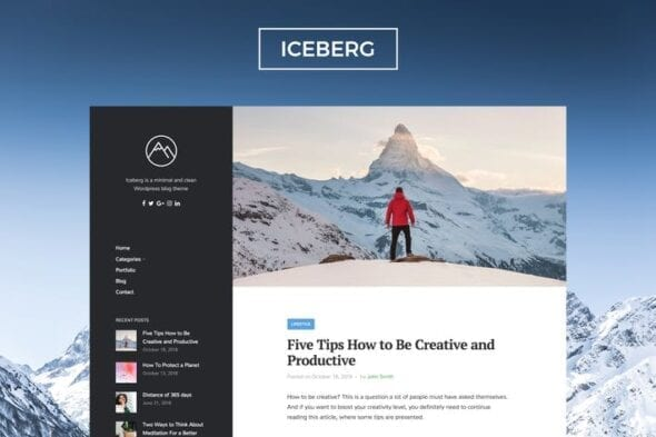 پوسته وردپرس بلاگ Iceberg - Clean & Modern WordPress Blog Theme
