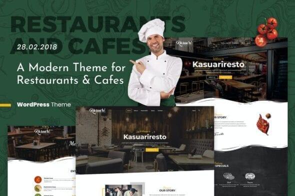 قالب وردپرس رستوران و کافه Kasuari | Restaurants and Cafes WordPress Theme