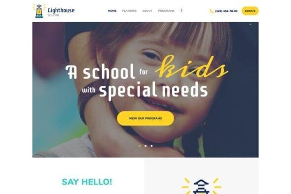 پوسته وردپرس کودکان کم توان Lighthouse | School for Handicapped Kids WP Theme