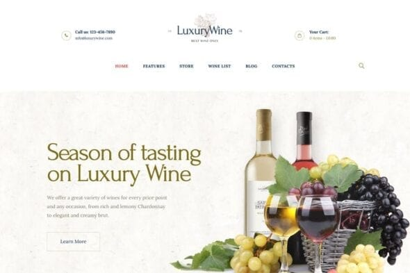 قالب وردپرس فروشگاهی Luxury Wine | Liquor Store & Vineyard WP Theme