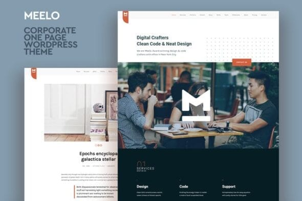 قالب وردپرس شرکتی تک صفحه ای Meelo - Corporate One Page WordPress Theme