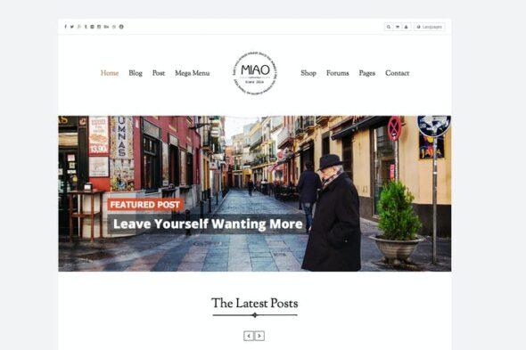 پوسته وردپرس بلاگ Miao - Clean Blog & Shop WordPress Theme