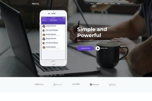 قالب وردپرس لندینگ پیج Morris - WordPress App & Product Landing Page